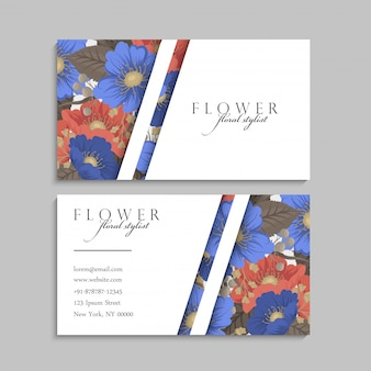 Blumenvisitenkarten blau und rot