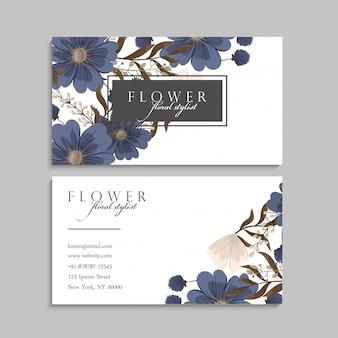Blumenvisitenkarten blau
