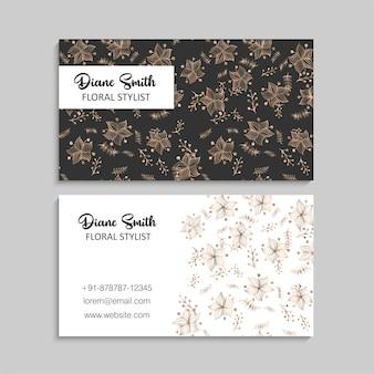 Blumenvisitenkarten gold und schwarzes