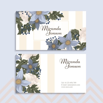 Blumenvisitenkarten hellblau