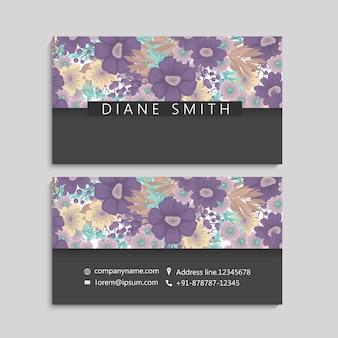 Blumenvisitenkarten lila blumen