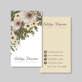 Blumenvisitenkarten pastellblumen