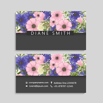 Blumenvisitenkarten rosa und blaue blume