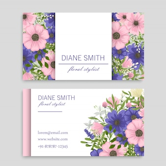 Blumenvisitenkarten rosa und blaue blumen