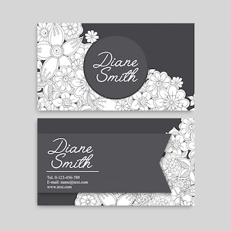 Blumenvisitenkarten weiß und schwarz