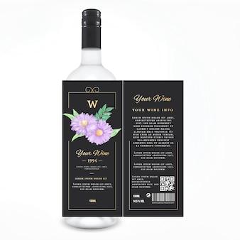 Blumenwein etikette getränke anzeige