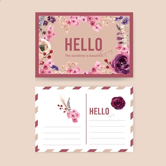 Blumenweinpostkarte mit mouquet, eberesche, rosenaquarellillustration.