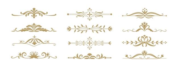 Blumenzierteiler. vintage dekorative elemente für hochzeitseinladung und grußkarten. vektorillustrationsdesign-verzierungsschmuckteiler und -grenzen für jubiläums- oder feierereignisse