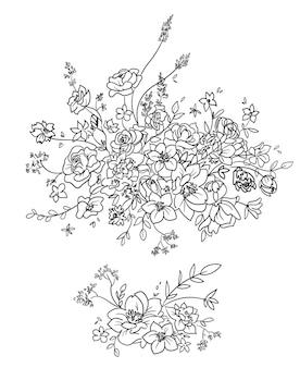 Blumenzusammensetzung, dekoratives element, vektorlinie kunst