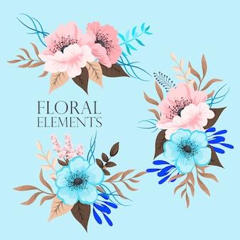 Blumenzusammensetzung eingestellt mit bunter blume.