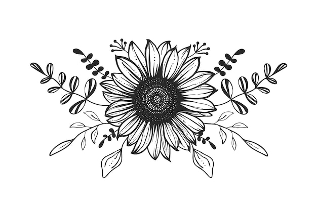 Blumenzusammensetzung. hand gezeichnete illustration. sonnenblume.