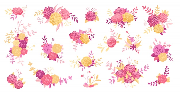 Blumenzweig gesetzt. blume rosa rose, blätter, zweige lila. hochzeitskonzept, vintage blumen. abstraktes blumenplakat, cartoon-sammlung einladen. grußkarte, einladungsentwurf. illustration