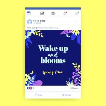 Blumiger bunter frühlings-facebook-beitrag