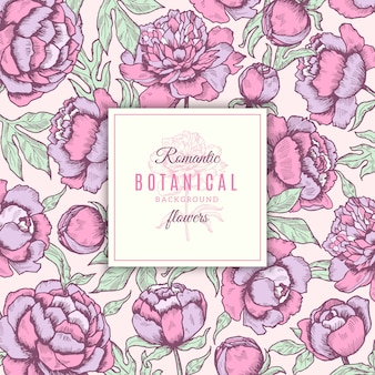 Blumiger hintergrund. botanische rahmen von pfingstrosenblumen mit gezeichnetem hochzeitskonzept der blätter