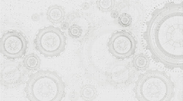 Blur digital technology gears wheel and cock on white circuit line background