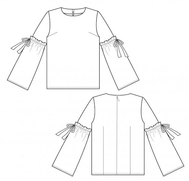 Bluse mode flache technische zeichnung vorlage