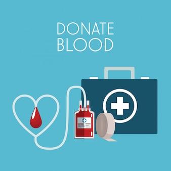 Blut spenden hilft zuerst Koffer und Elemente