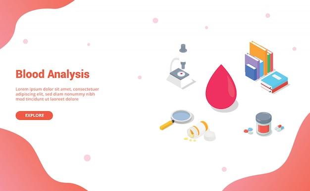 Blutanalyse mit mannschaftsarzt und krankenschwester mit modernem isometrischem stil für websiteschablone oder landungshomepage
