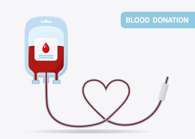 Blutbeutel mit rotem tropfen. spende, transfusion im labor. packung plasma mit herz
