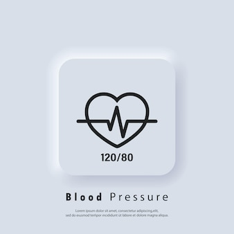 Blutdruck-symbol. gute gesundheit vektorsymbol. blutdruckzahlen mit herzpulskardiogramm, logoelement für medizinisches pulsometer. konzept der herzschlag-label-krankenhausausrüstung