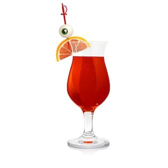 Blutiger cocktail mit augapfel und grapefruit