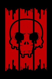 Blutiger schädel retro-illustration