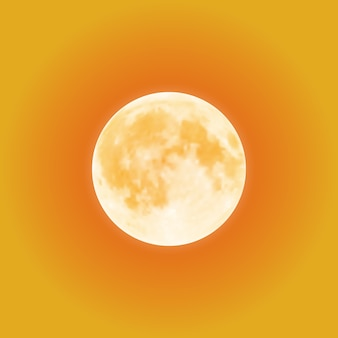 Blutiger vollmond über orangefarbenem nachthimmel