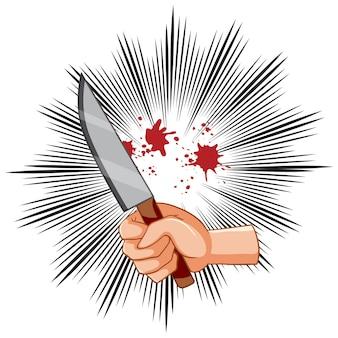 Blutiges messer mit hand auf schwarzen strahlen