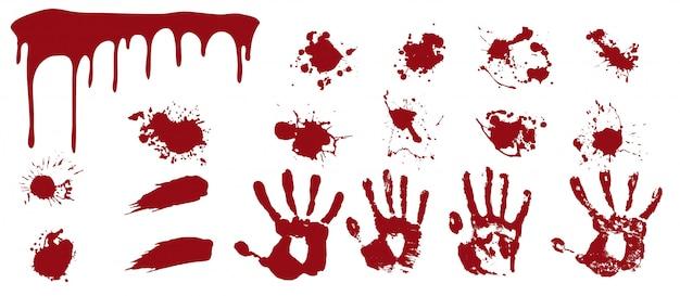 Blutiges spray und handabdrücke. rote streifen und flecken mit menschlichen drucken todesflecken.