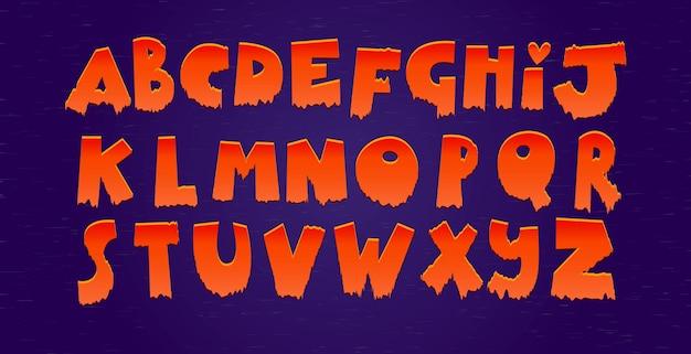 Blutiges vampir-alphabet vektor-schriftart lateinische buchstaben in roter farbe lustige kinder schreiben für halloween
