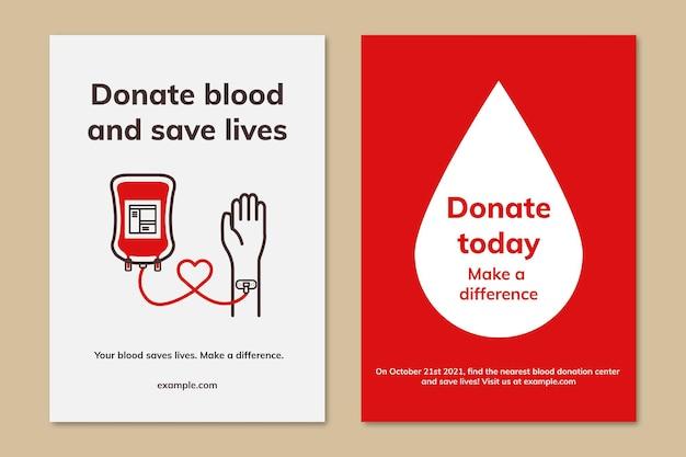 Blutspendekampagne vorlage vektor-anzeigenplakat im minimalistischen stil dual-set