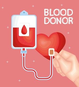 Blutspender schriftzug und beutel
