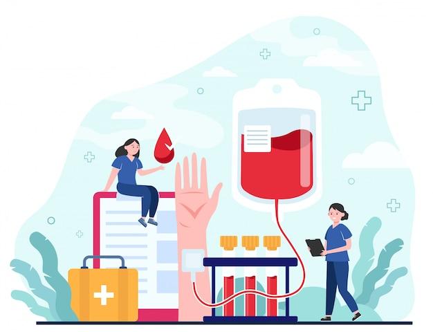 Blutspender und krankenschwester
