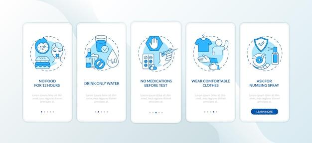 Bluttestempfehlungen onboarding mobile app-seitenbildschirm mit konzepten