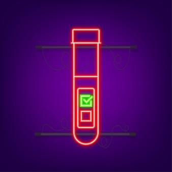 Bluttestergebnis im flachen stil. chemische laborforschung. neon-symbol. vektor-illustration.