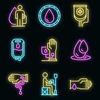 Bluttransfusionssymbole gesetzt. umrisse von bluttransfusionsvektorsymbolen neonfarbe auf schwarz