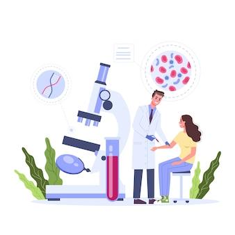 Blutuntersuchung im klinikkonzept. medizinische geräte zum testen. der arzt holt etwas blut für den labortest. illustration mit stil