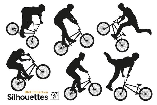 Bmx fahrrad silhouetten gesetzt. isoliertes bmx-fahrrad.