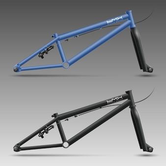 Bmx fahrradrohrrahmen mit gabel, kabel, hinterradbremse und achsmuttern