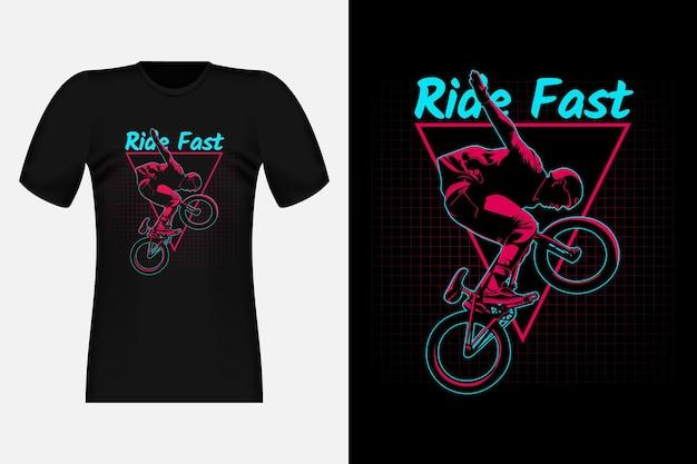 Bmx freestyle ride fast silhouette vintage t-shirt design