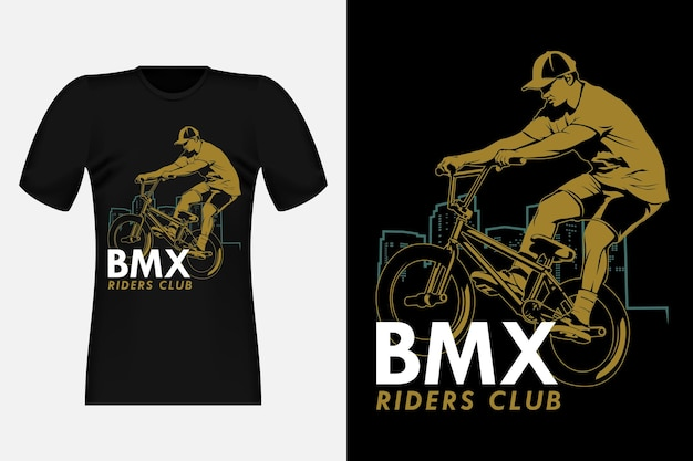Bmx riders club silhouette vintage t-shirt design illustration