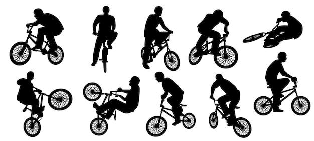Bmx silhouette oder fahrrad silhouette