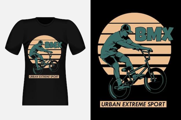 Bmx urban extreme sport silhouette vintage t-shirt design