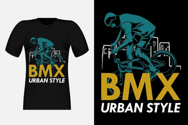 Bmx urban style silhouette vintage t-shirt design