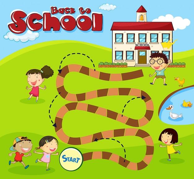 Boardgame-vorlage mit kindern in der schule