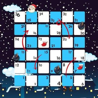Boardgame vorlage mit santa in der nacht