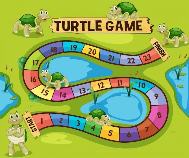 Boardgame-vorlage mit schildkröten im teich