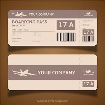 Boarding pass-vorlage in brauntönen