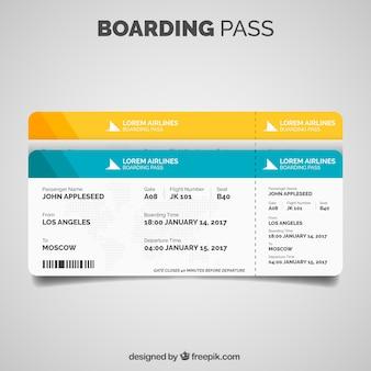 Boarding pass-vorlage in flaches design