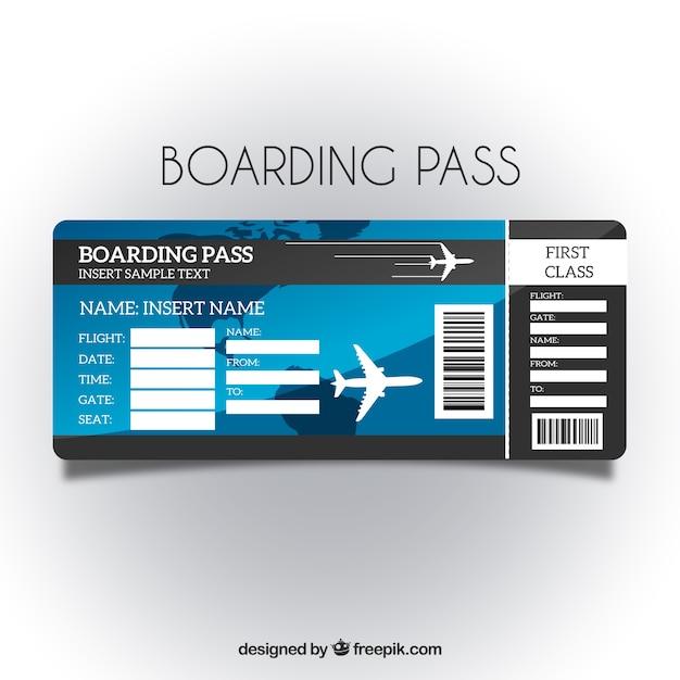 Boarding pass-vorlage mit blauem hintergrund